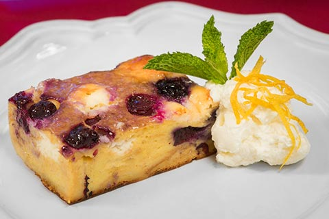 Lemon Blueberry Cream Cheese Bread Pudding